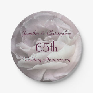 Pink Rose Paper Plates, 65th Wedding Anniversary 7 Inch Paper Plate