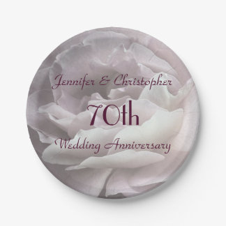 Pink Rose Paper Plates, 70th Wedding Anniversary Paper Plate