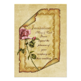 Pink Rose Parchment Personalized Announcements