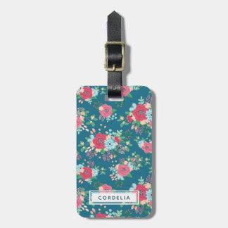 Pink Rose Pattern - Custom Name Address Bag Tag