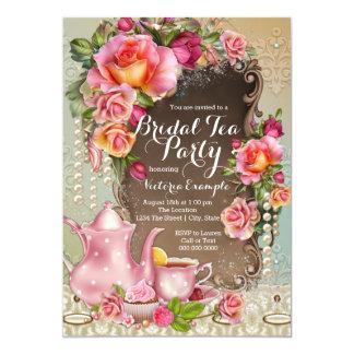 Pink Rose Pearl Bridal Tea Party 5x7 Paper Invitation Card