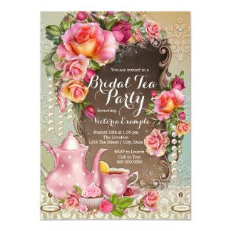 Pink Rose Pearl Bridal Tea Party 4.5x6.25 Paper Invitation Card