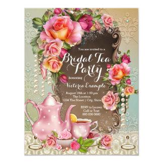 Pink Rose Pearl Bridal Tea Party 4.25x5.5 Paper Invitation Card