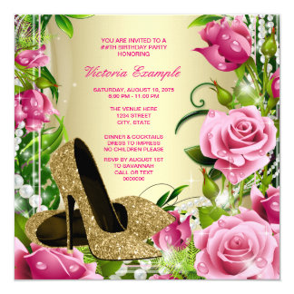 Pink Rose Pearl Gold High Heel Shoe Birthday Party Card