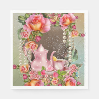 Pink Rose Pearl Tea Party Napkin