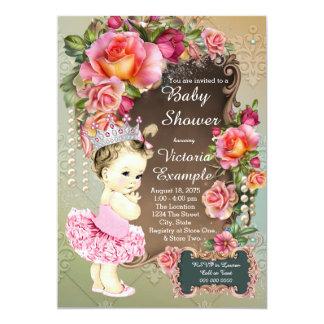 Pink Rose Pearl Tutu Princess Baby Shower 5x7 Paper Invitation Card