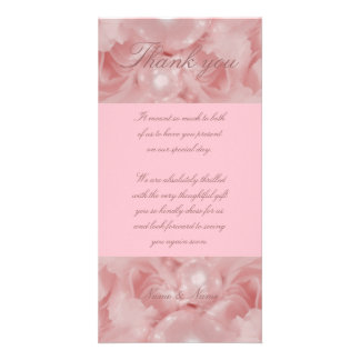 Pink rose pearls thank you cards parties functions photo card