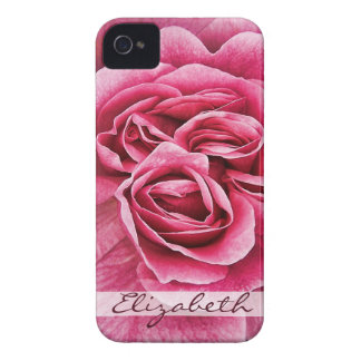 Pink Rose Personalized iPhone 4 Case-Mate Case