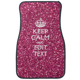Pink Rose Personalized KEEP CALM AND Your Text Car Floor Mat