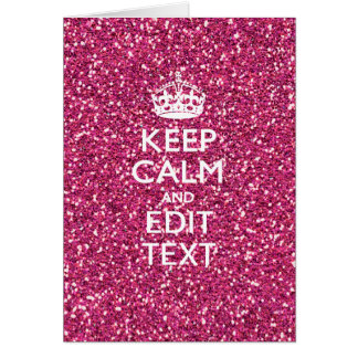 Pink Rose Personalized KEEP CALM AND Your Text Card