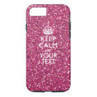 Pink Rose Personalized KEEP CALM AND Your Text iPhone 8/7 Case