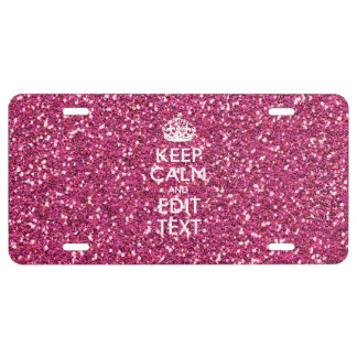 Pink Rose Personalized KEEP CALM AND Your Text License Plate