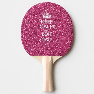 Pink Rose Personalized KEEP CALM AND Your Text Ping-Pong Paddle