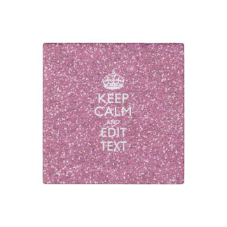 Pink Rose Personalized KEEP CALM AND Your Text Stone Magnet