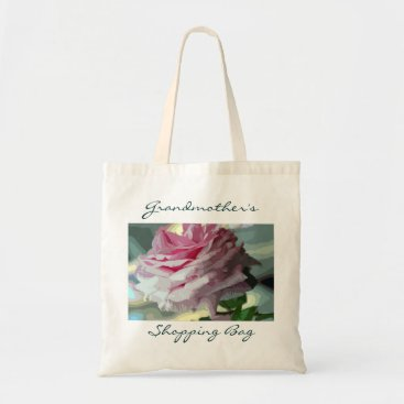 littlewingdesign Pink Rose Personalized Reusable Shopping Tote Bag