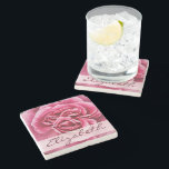 """Pink Rose Personalized Stone Coaster<br><div class=""""desc"""">A beautiful Pink Rose Flower fresh from the garden ready to be personalized. Pink Rose Photograph Image. Just change the name Elizabeth to any name. You can also change the color,  the font style and size.</div>"""