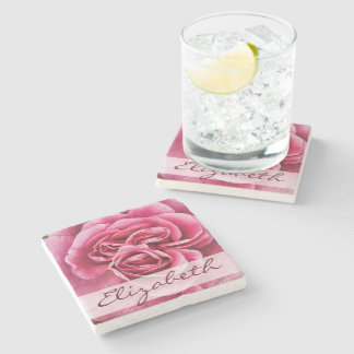 Pink Rose Personalized Stone Coaster