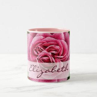 Pink Rose Personalized Two-Tone Coffee Mug