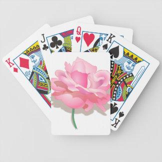 PINK ROSE, PETALS AND STEM, ROSE FLOWER IN BLOOM POKER DECK