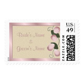 Pink Rose Petals Customizable Wedding Postage