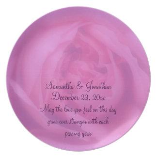 Pink Rose Petals Flower Wedding Keepsake Plate