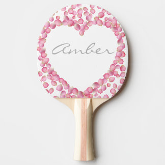 Pink rose petals heart custom ping pong paddle