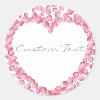 Pink rose petals heart custom sticker