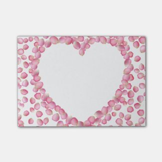 Pink rose petals heart Post-it note pad