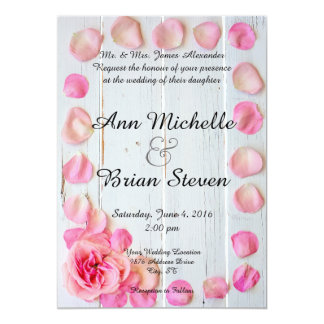Pink Rose Petals on Wood Wedding Invitation