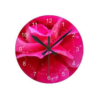 pink rose petals round clock