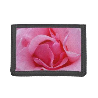 Pink rose petals trifold wallet