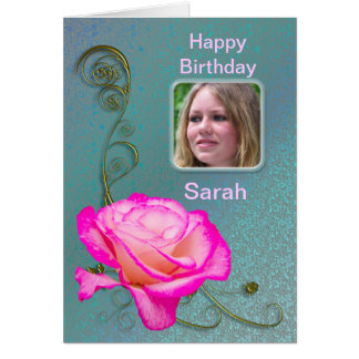 Pink rose photo birthday card