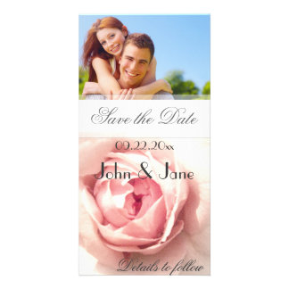 """Pink Rose/photo  """"Save the Date"""" Card"""