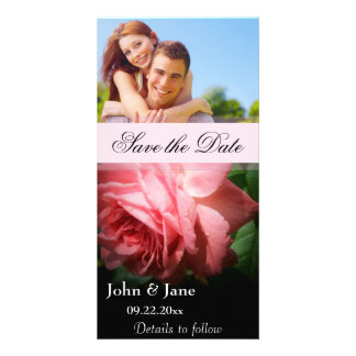 """Pink Rose/photo  """"Save the Date"""" Photo Card"""