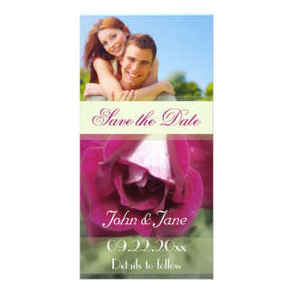 """Pink Rose/photo  """"Save the Date"""" Customized Photo Card"""
