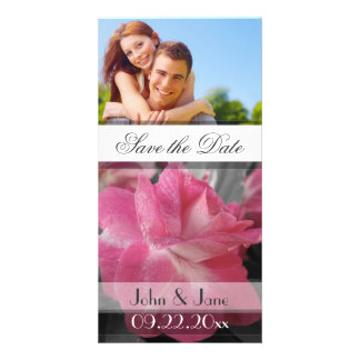"""Pink Rose  /photo  """"Save the Date"""" Personalized Photo Card"""