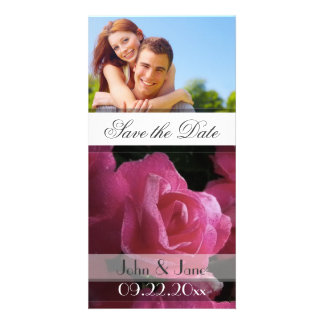 """Pink Rose  /photo  """"Save the Date"""" Photo Card Template"""