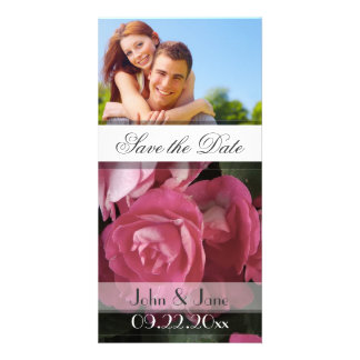 """Pink Rose  /photo  """"Save the Date"""" Picture Card"""