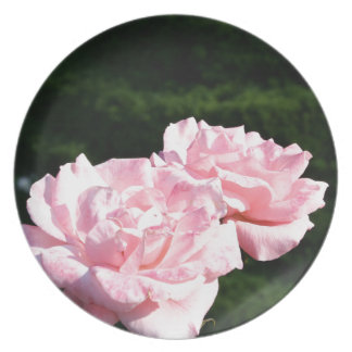 pink rose picture gift plate