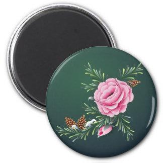 PINK ROSE & PINE by SHARON SHARPE 2 Inch Round Magnet