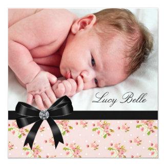 Pink Rose Pink Black Baby Girl Photo Birth 5.25x5.25 Square Paper Invitation Card
