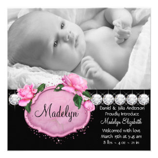 Pink Rose Pink Black Photo Birth Announcement