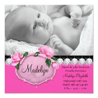 Pink Rose Pink Black Photo Birth Announcement