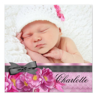 Pink Rose Pink Black Photo Birth Announcements