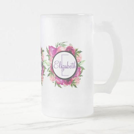 Pink Rose & Poppy Floral Bouquet Monogram Frosted Glass Beer Mug