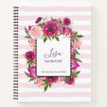 Pink Rose & Poppy Floral Bouquet on Pink Stripes Notebook