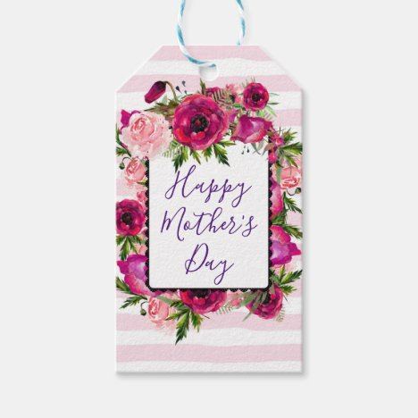 Pink Rose & Poppy Florals Happy Mother's Day Gift Tags
