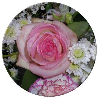 Pink rose porcelain plate