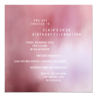 Pink Rose Powder Brush Ombre Minimal White Party Card