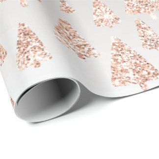 Pink Rose Powder Gold Glitter Christmas Tree Gray Wrapping Paper